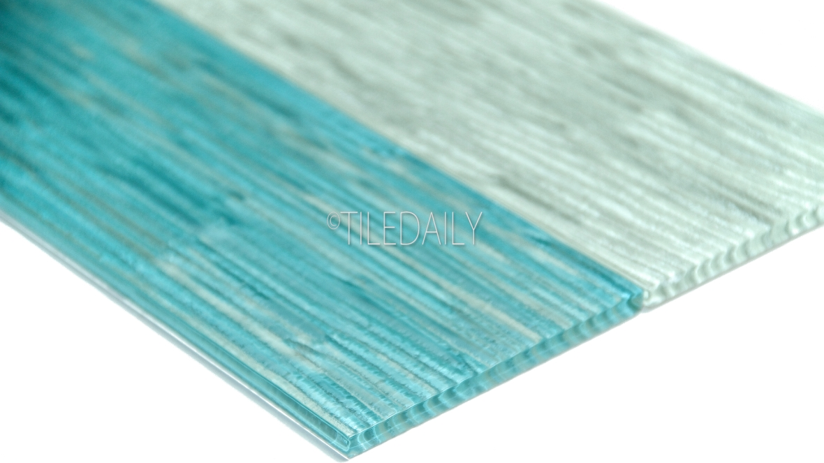 4x12 Ripple Texture Glass Tile, Turquoise and Light Green at TileDaily