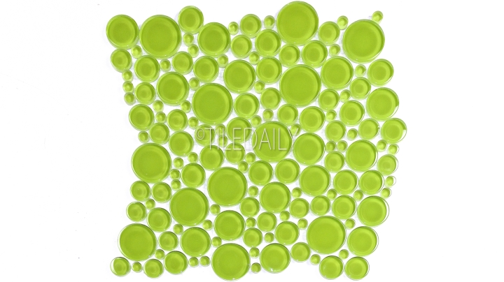 Bubble Glass Mosaic Tile in Apple Green at TileDaily On SALE
