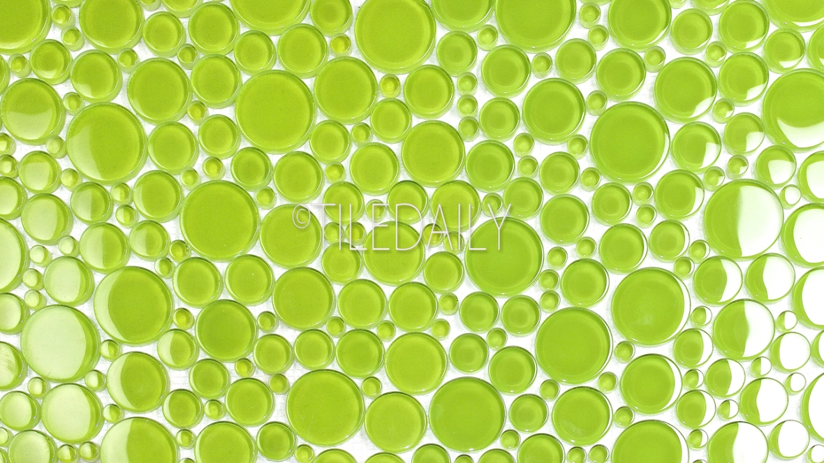 Bubble Glass Mosaic Tile in Apple Green at TileDaily