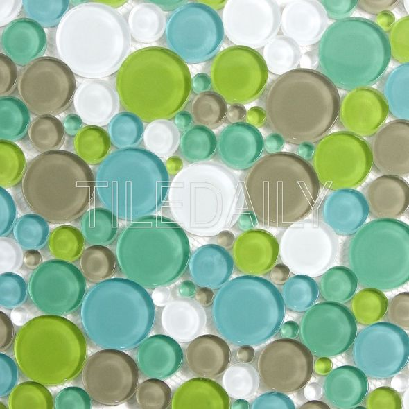 Bubble Glass Mosaic Tile in Blue Green Mix Available at TileDaily On SALE