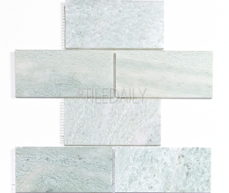 3x6 Ming Green Marble Subway Mosaic Available at TileDaily