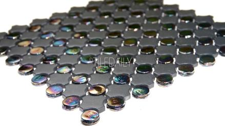 GM0125BK - Iridescent Penny Round Mix Mosaic, Black