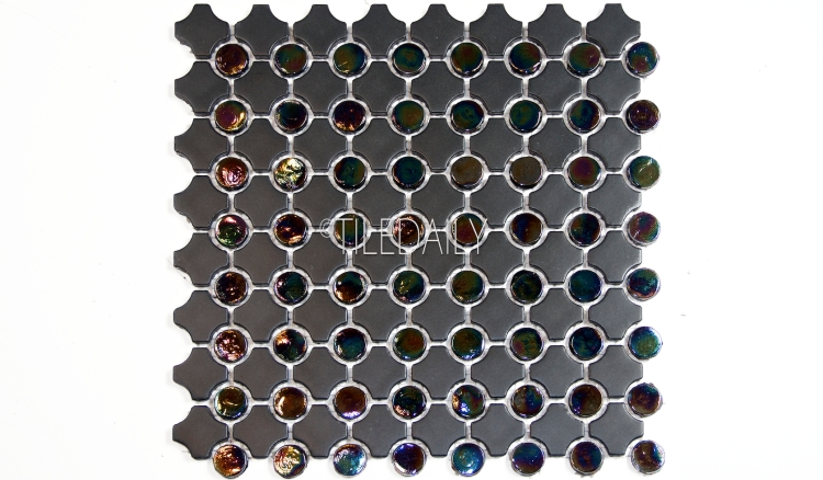 GM0012BK-2 - Iridescent Penny Round Mix Mosaic, Black