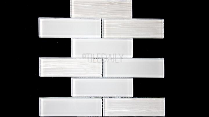 GM0127GY - 2x6 Glass Subway Brick Mosaic, White