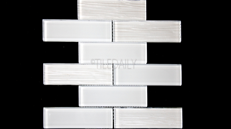 GM0127GY - 2x6 Glass Subway Brick Mosaic, White