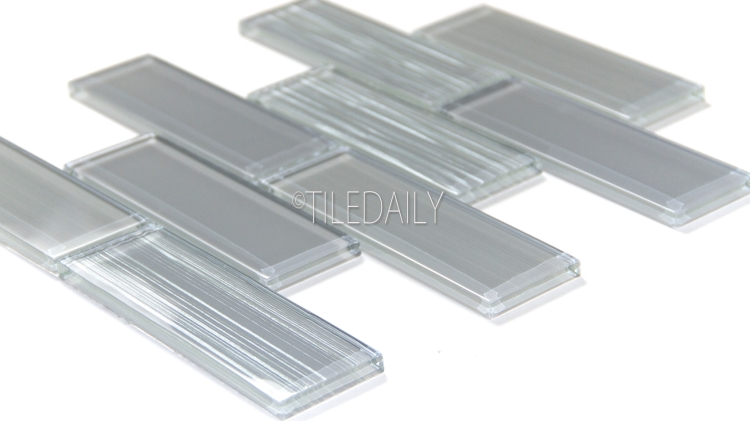 GM0127GY - 2x6 Glass Subway Brick Mosaic, Grey