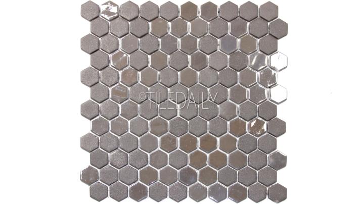 Iridium Grey Hexagon Glass Mosaic Tile Available at TileDaily
