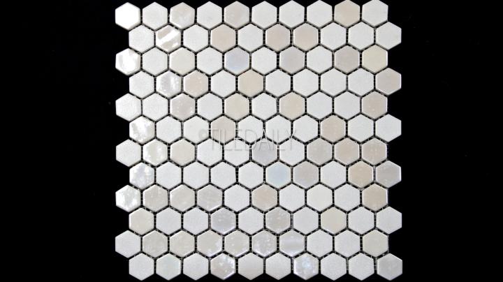 Iridium White Hexagon Glass Mosaic Tile Available at TileDaily