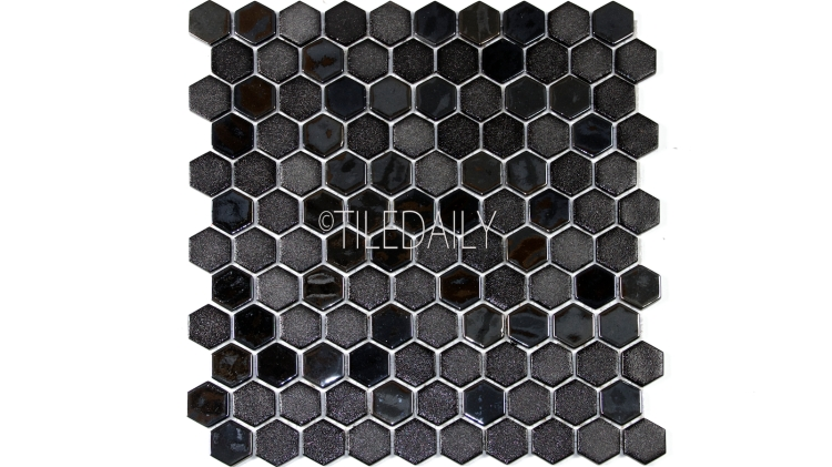 Iridium Black Hexagon Glass Mosaic Tile Available at TileDaily