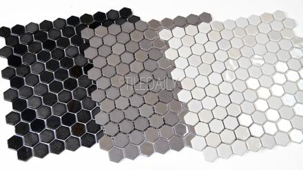 GM0127TE - Iridium Hexagon Glass Mosaic, Black, Taupe, White