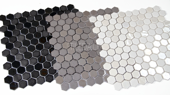 Iridium Hexagon Glass Mosaic, 3 Colors