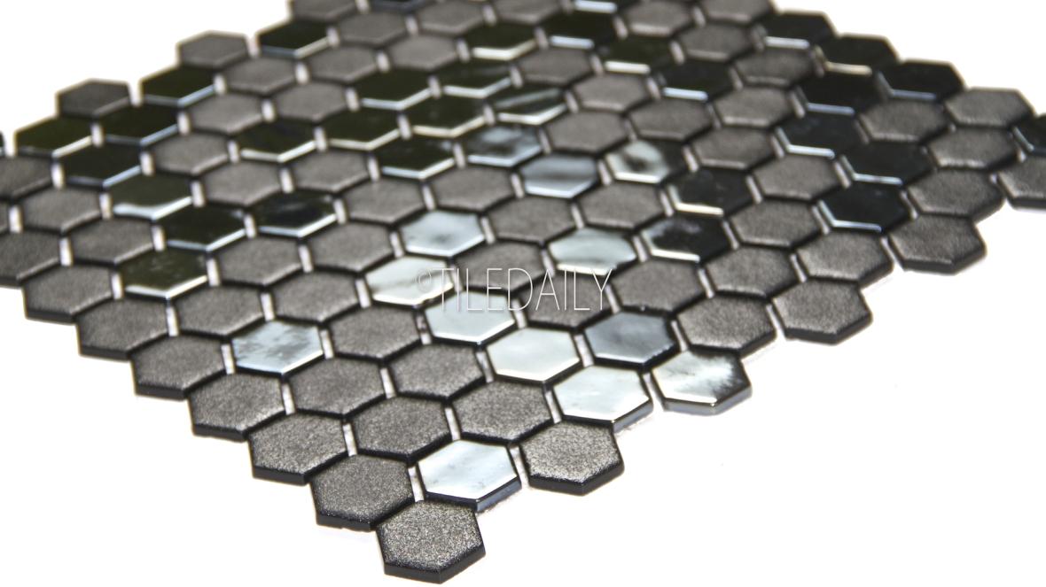 Iridium Black Hexagon Glass Mosaic Tile Available at TileDaily