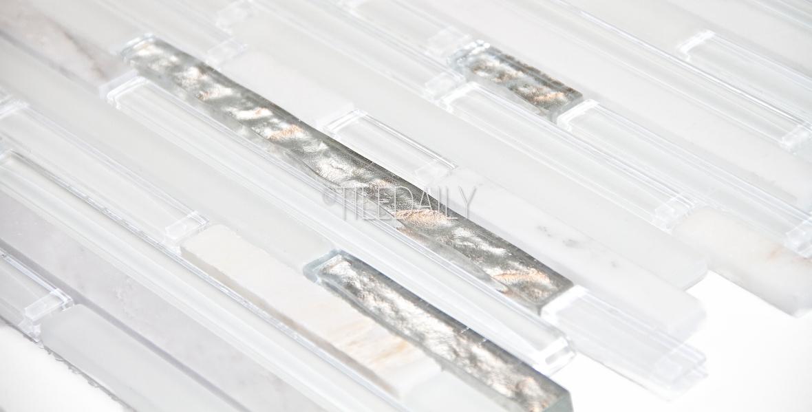 GM0129 - Silver Mix Glass and Stone Mosaic, White