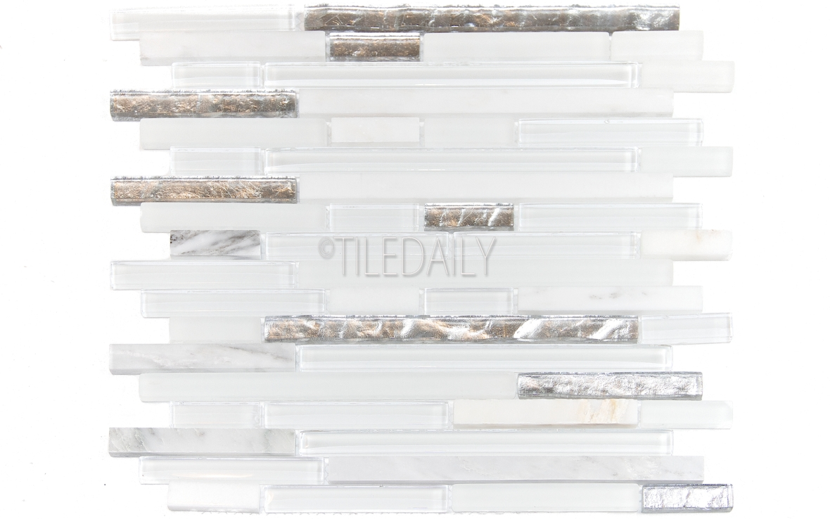 GM0129 - Silver Mix Glass and Stone Mosaic, White