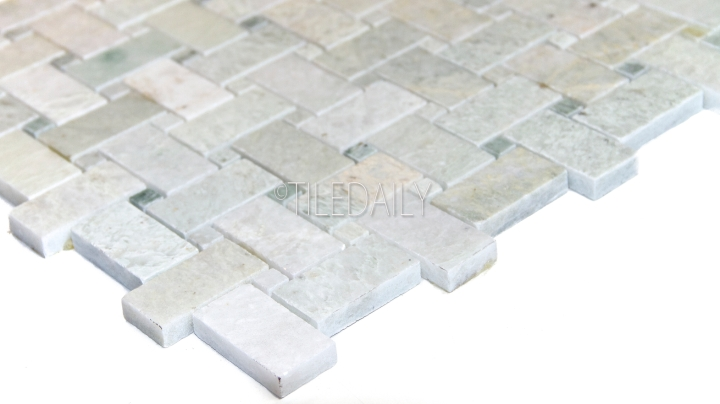 NS0049GN - Ming Green Basket Weave Marble Mosaic