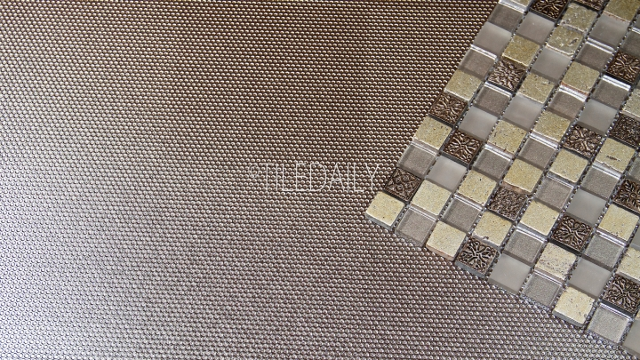 GM0130CE - Century Glass Mosaic, Champagne with - MP0033 Metallic Grate Porcelain Tile