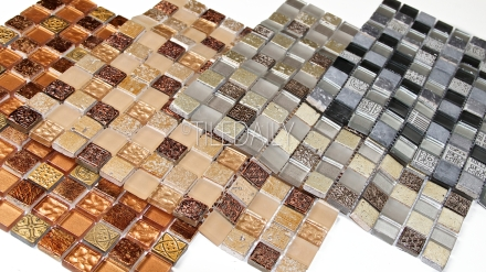 Gm0130 century glass mosaic silver champagne gold and bronze