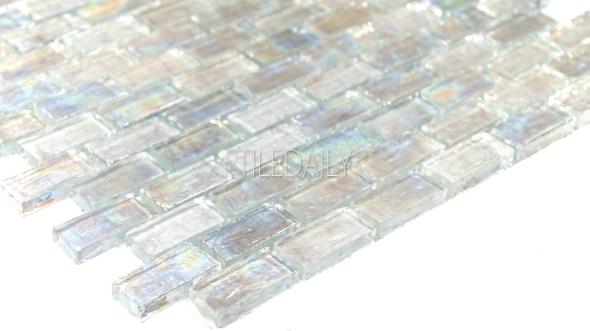GM0090WE - Iridescent Brick Glass Mosaic, Clear White