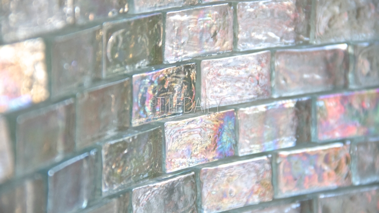 Clear White Iridescent Brick Glass Mosaic at TileDaily