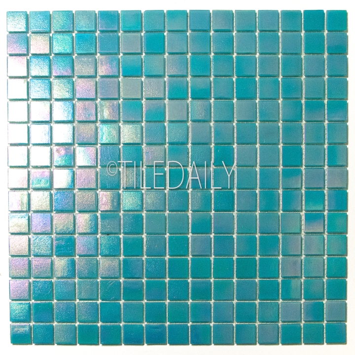 GM0040TE - Iridescent Opaque Glass Mosaic, Turquoise