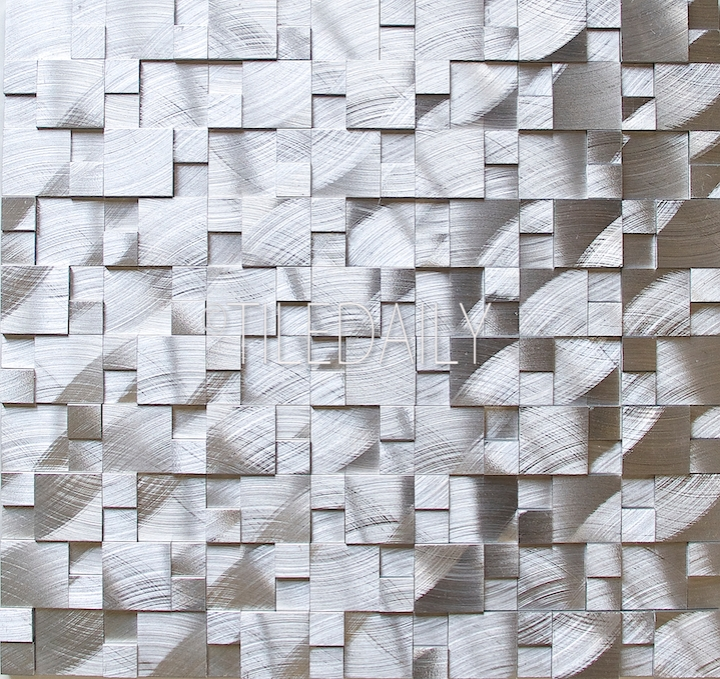 Silver Splitface 3D Aluminum Mosaic Available at TileDaily