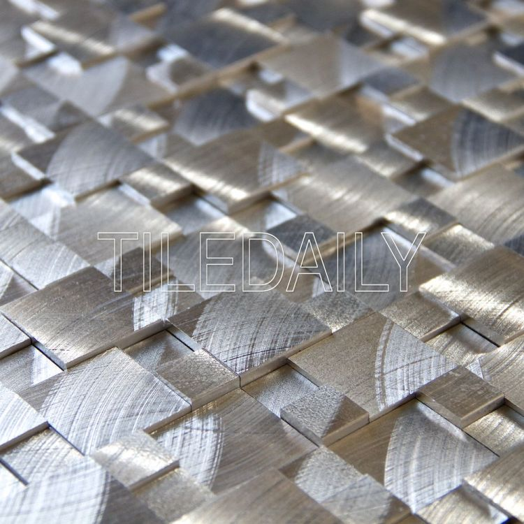 Silver 3D Splitface Aluminum Mosaic Tile Available at TileDaily