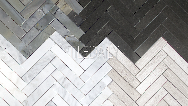 Stone Herringbone Mosaics 4 Colors Tiledaily