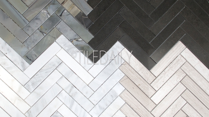 Stone Herringbone Mosaics, 4Colors