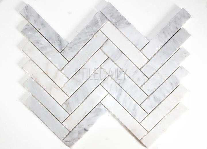 NS0075WE - Stone Herringbone Mosaic, White Carrara