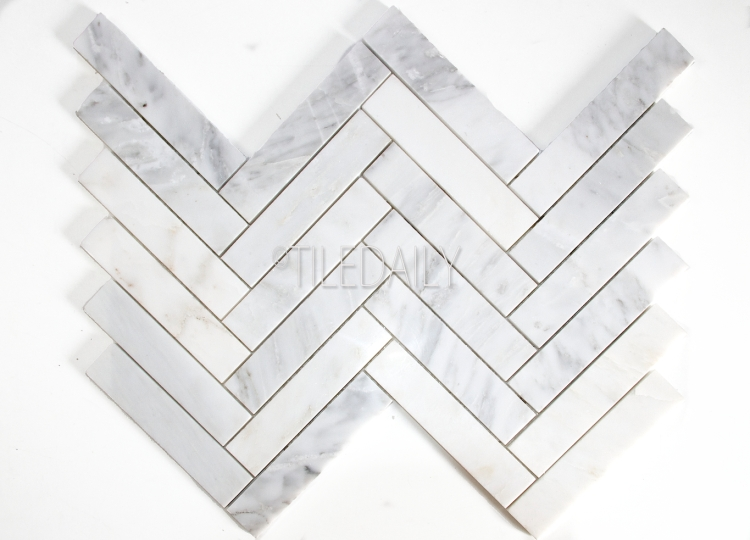 NS0075WE - Stone Herringbone Mosaic, White Carrara