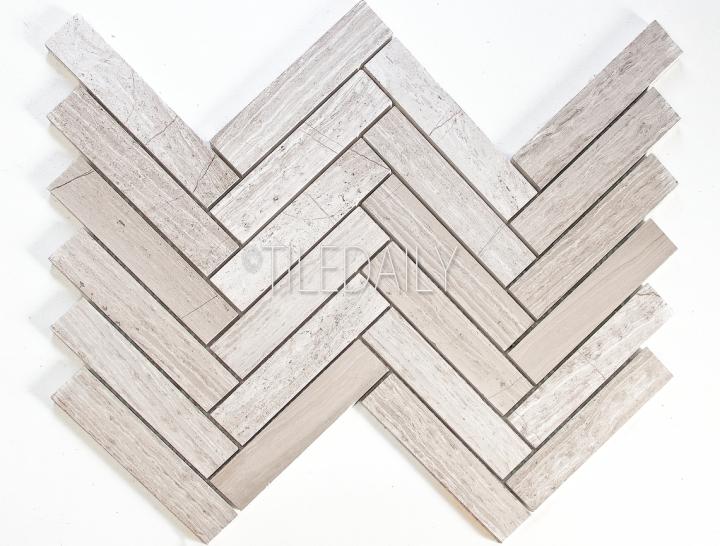 NS0075LBG - Stone Herringbone Mosaic, Oak