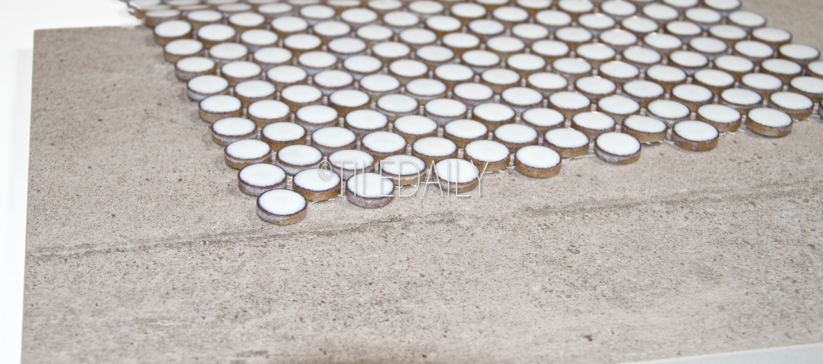 P0084LGY-2 - Light Grey Rustic Cement with Rustic White Penny Round
