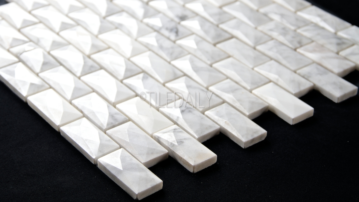 White Carrara Beveled Diamond Brick Mosaic Tiledaily