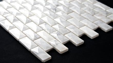 NS0077 - 1x2 White Carrara Beveled Diamond Brick Mosaic