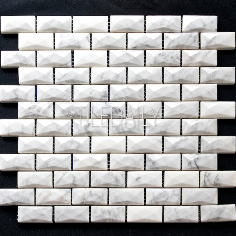 NS0077 - 1x2 White Carrara Beveled Diamond Brick Mosaic