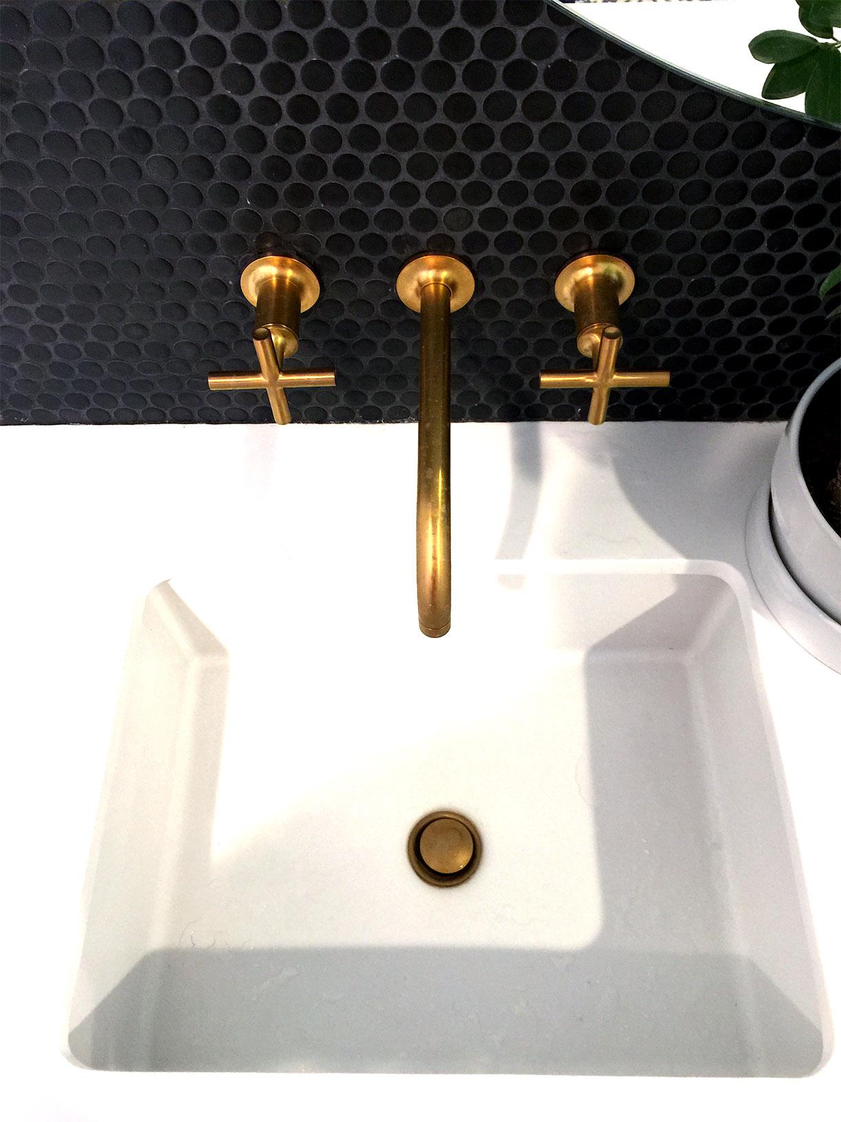 Behind The Sink Backsplash Glazed Matte Black Penny Round Mosaic Tiledaily