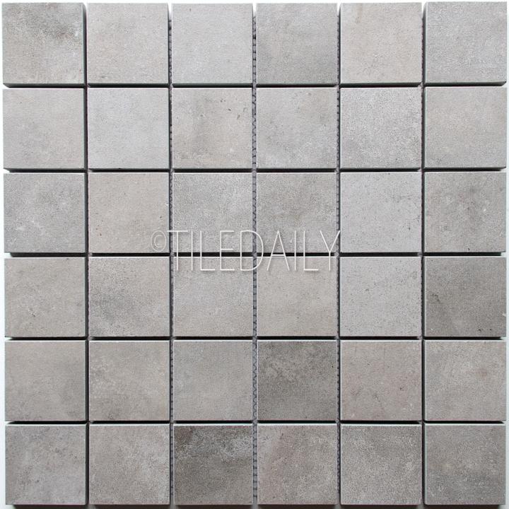 P0059GY-MOS - 2x2 Cement Porcelain Square Mosaic, Grey