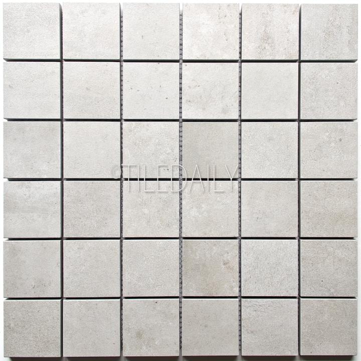 P0059LGY-MOS - 2x2 Cement Porcelain Square Mosaic, Light Grey
