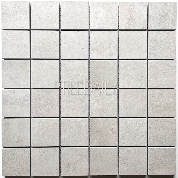 P0059LGY-MOS - 2x2 Cement Porcelain Square Mosaic, Light Grey