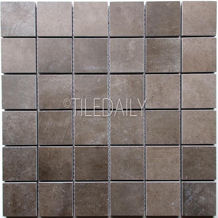 P0059DGY-MOS - 2x2 Cement Porcelain Square Mosaic, Dark Grey