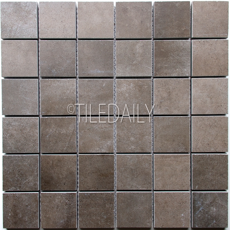 P0059DGY-MOS - 2x2 Cement Porcelain Square Mosaic, Dark Grey