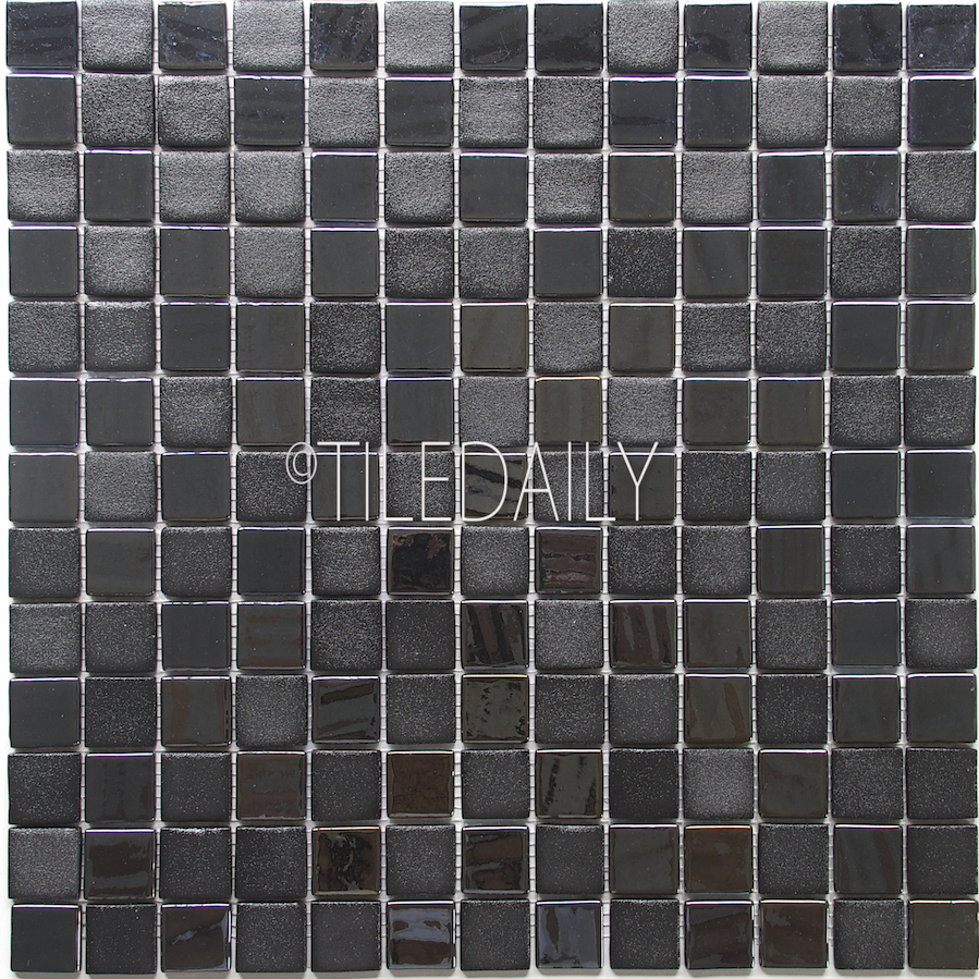GM0128-1 - Iridium square Glass Mosaic, Black