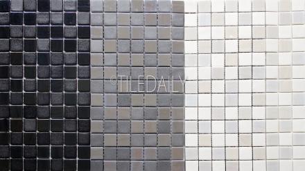 GM0128-1 - Iridium square Glass Mosaic, 3 Colors. Black, Grey & White