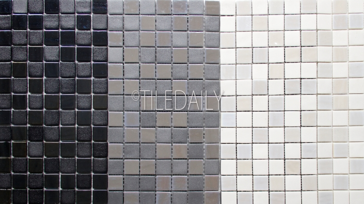 GM0128-1 - Iridium square Glass Mosaic, 3 Colors. Black, Grey & White