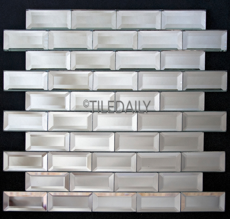 GM0016-2 - Mirror Beveled Brick Glass Mosaic