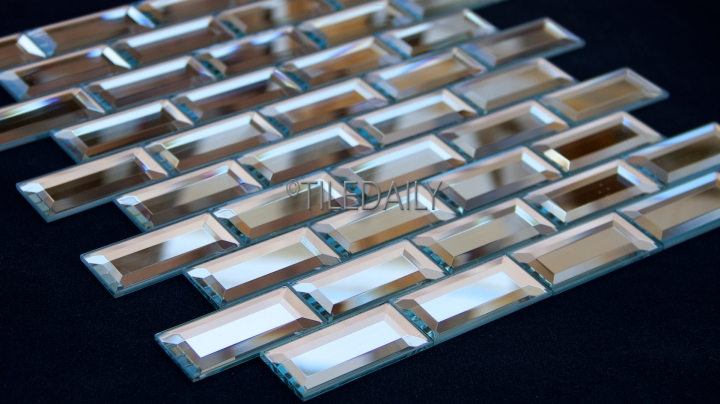 Mirror Beveled Brick Glass Mosaic