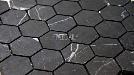 "NS0050BKH-2 - 2"" Nero Black Hexagon Marble Mosaic"