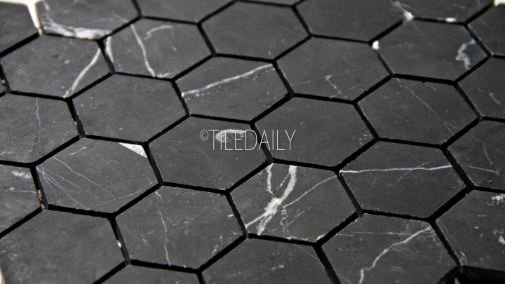 Nero Black Hexagon Mosaic
