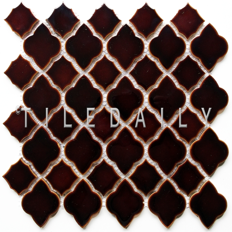 PM0076BN - Arabesque Mixed Mosaic Tile, Brown