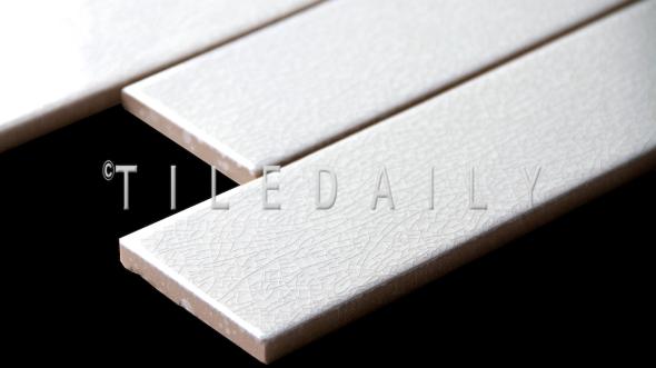"Close up view of P0090 - 2.8""x 8.5"" Crackle White subway Porcelain Tile"